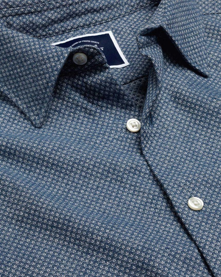 Brushed Cotton Linen Textured Shirt - Navy