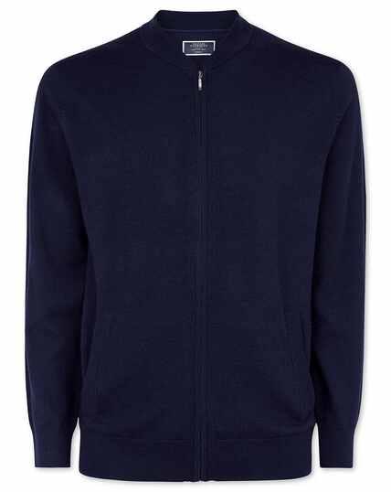 Veste bomber zippée en laine mérinos bleu marine