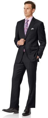 Black classic fit twill business suit