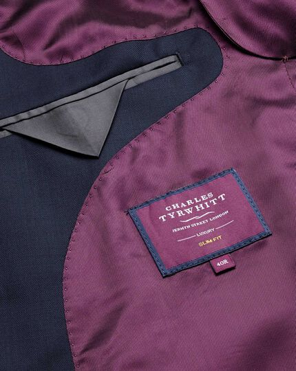 Italian Luxury Twill Suit Jacket - Navy