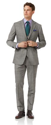 Grey slim fit Prince of Wales check flannel business suit