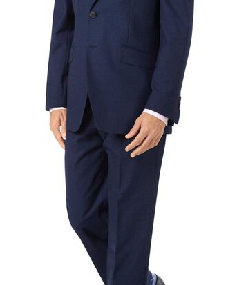 Indigo blue classic fit Panama puppytooth business suit