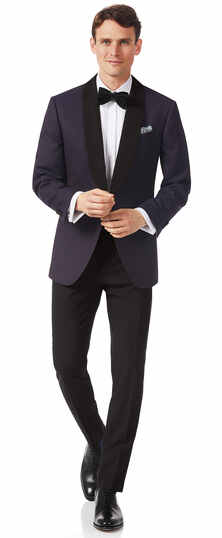 Aubergine slim fit dinner suit