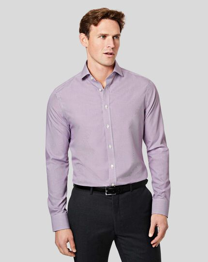 Cutaway Collar Non-Iron Bengal Stripe Shirt - Purple
