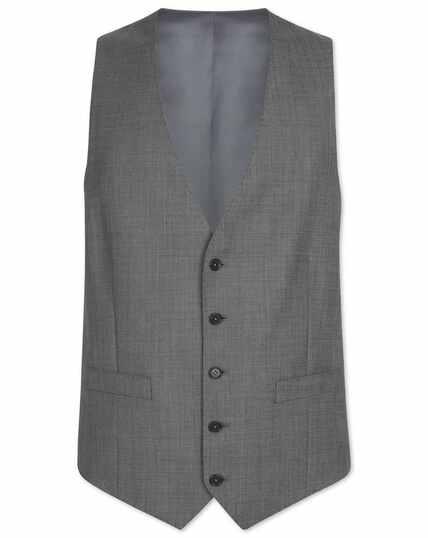 Light grey adjustable fit sharkskin travel suit waistcoat