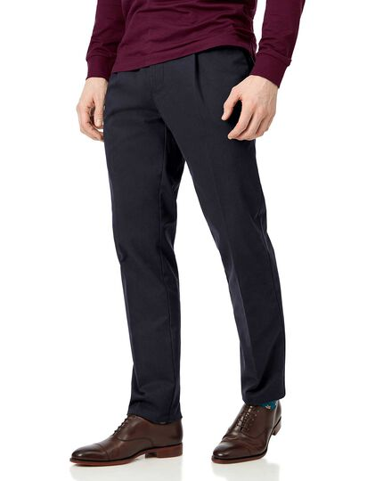 Navy single pleat soft washed chinos