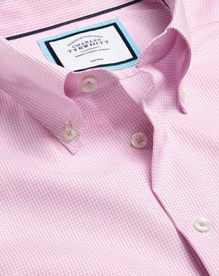 Bügelfreies Hemd mit Button-down-Kragen und Karos- Rosa