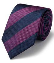 Klassische Krawatte aus strukturiertem Seidengewebe mit Streifen in Magenta & Bunt