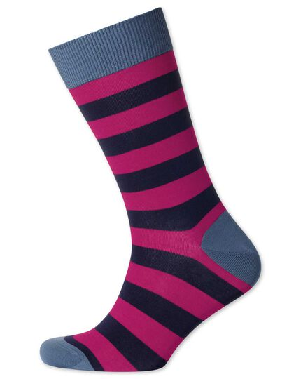 Pink and navy stripe socks