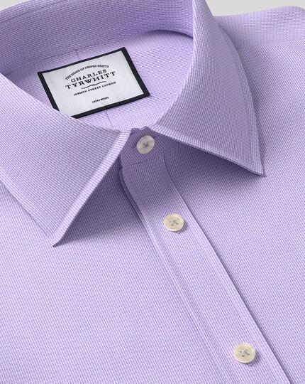 Classic Collar Non-Iron Mini Herringbone Shirt - Lilac