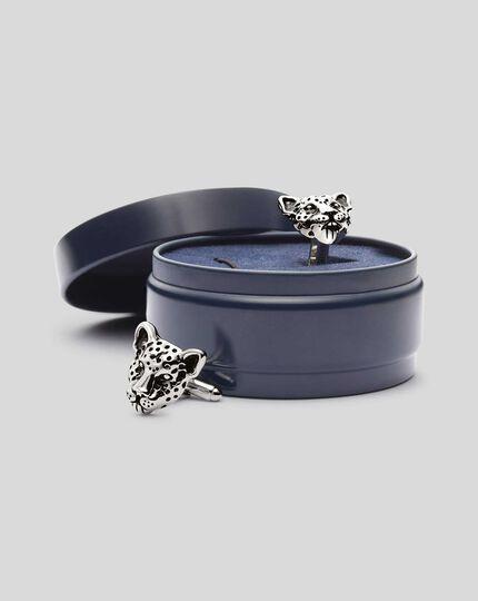 Manschettenknöpfe mit Leopard - Silber