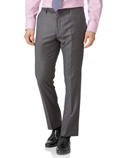 Light grey slim fit wool with cashmere Italian suit trousers