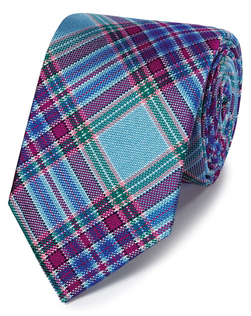 Blue and coral check silk English luxury tie