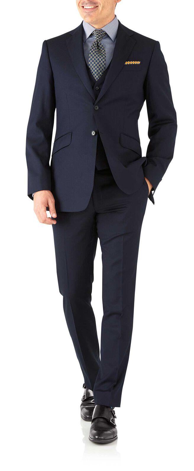 Navy herringbone slim fit Italian suit