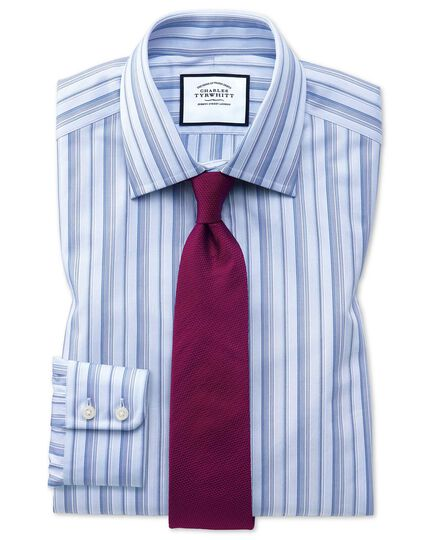 Extra slim fit sky blue multi stripe Egyptian cotton shirt