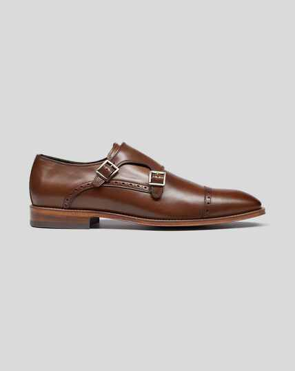 Flexible Sole Double Buckle Monk Shoe - Brown