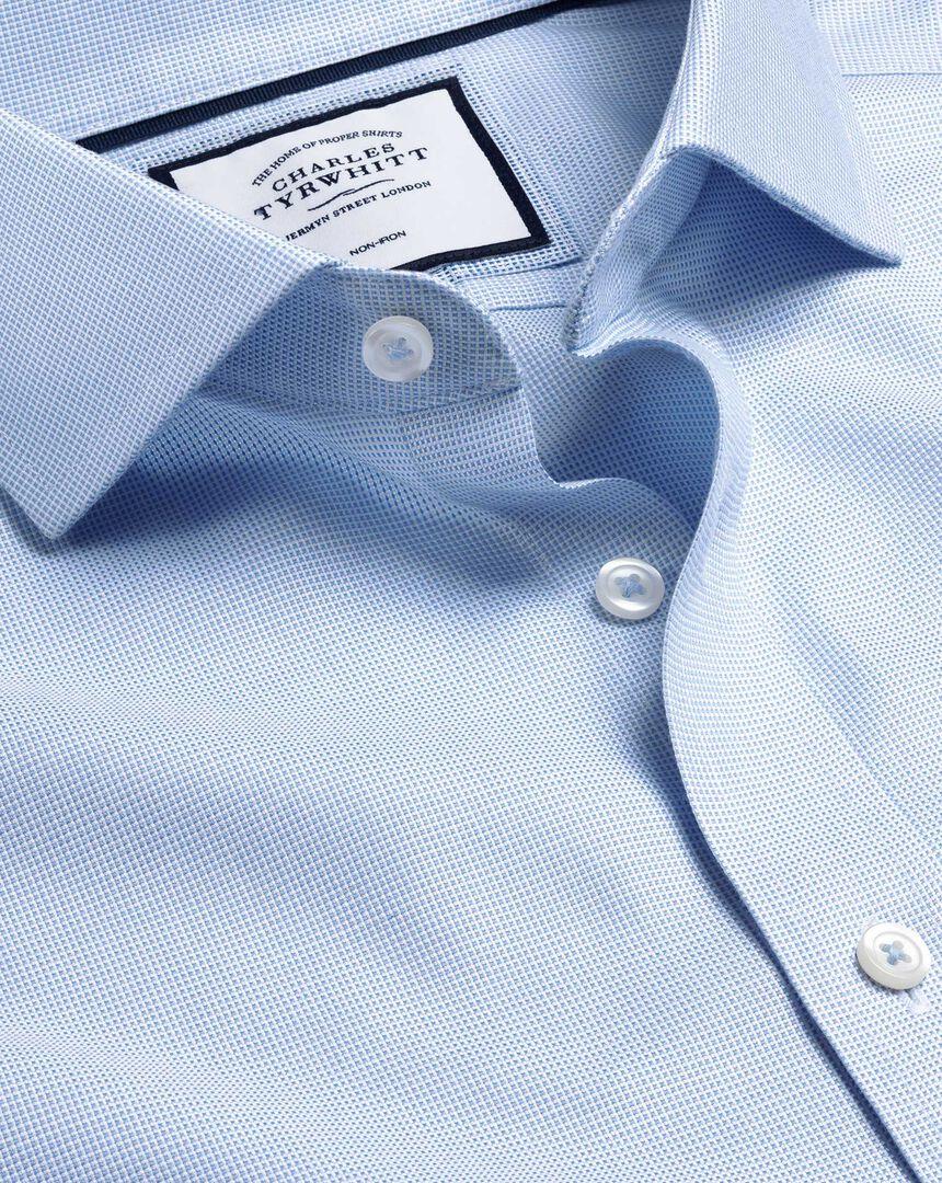 Bügelfreies Hemd in Ludgate-Webung mit Haifischkragen - Himmelblau