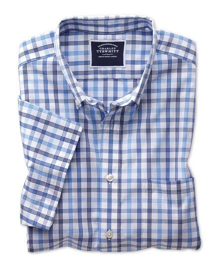 Slim fit non-iron blue large check short sleeve shirt