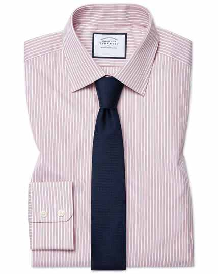 Extra slim fit poplin fine stripe pink shirt