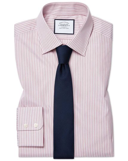 Chemise en popeline rose à fines rayures extra slim fit