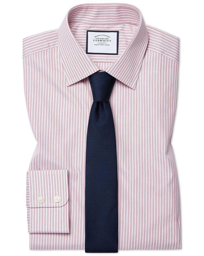 Extra slim fit poplin fine stripe pink shirt