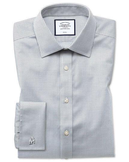 Chemise grise en twill extra slim fit à petits carreaux simples sans repassage