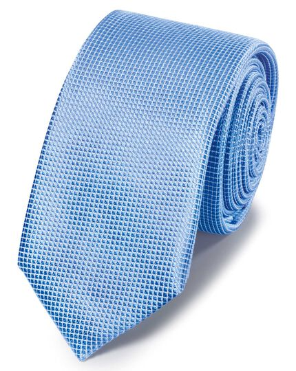 Sky blue mini pindot slim tie