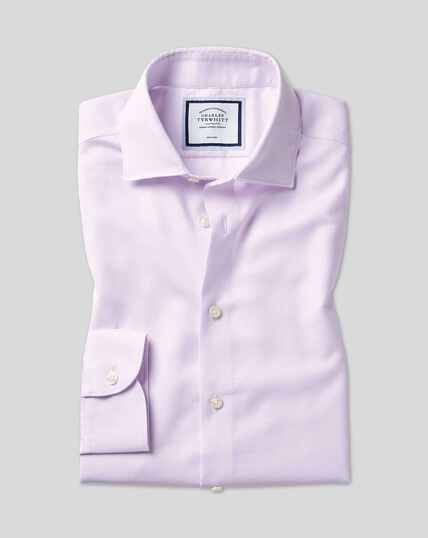 Chemise oxford coton et lin à col business casual sans repassage - Lilas