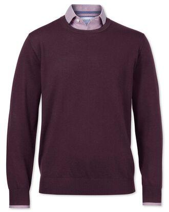 Wine merino wool crew neck sweater