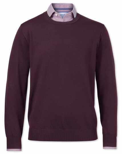 Wine merino wool crew neck jumper