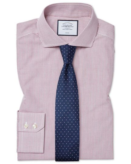 Non-Iron Spread Tyrwhitt Cool Poplin Check Shirt - Berry
