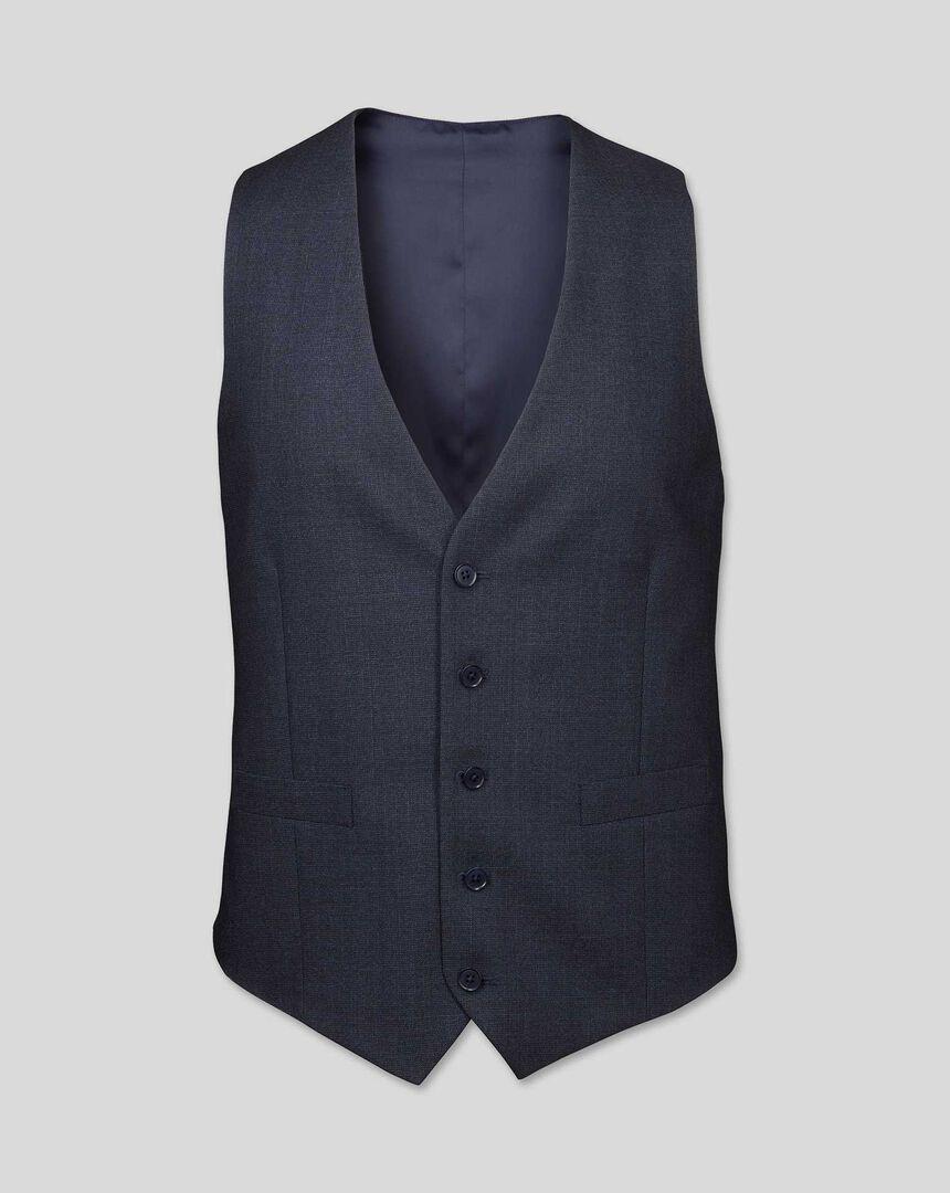 Semi-Plain Suit Waistcoat - Navy