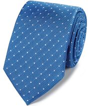 Royal and white silk textured spot classic tie