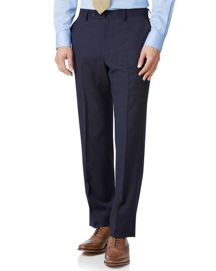 Navy classic fit twill business suit trousers