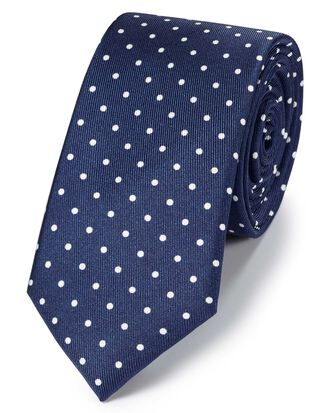 Navy and white silk slim printed spot classic tie