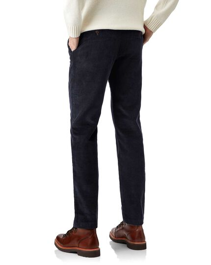 Navy jumbo cord trousers