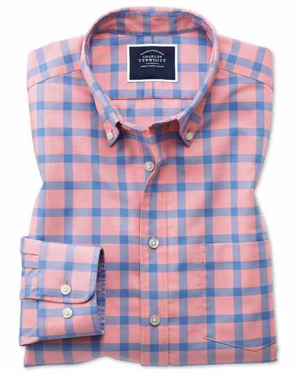 4d3944051a3 ... Classic fit coral block check soft washed non-iron twill shirt