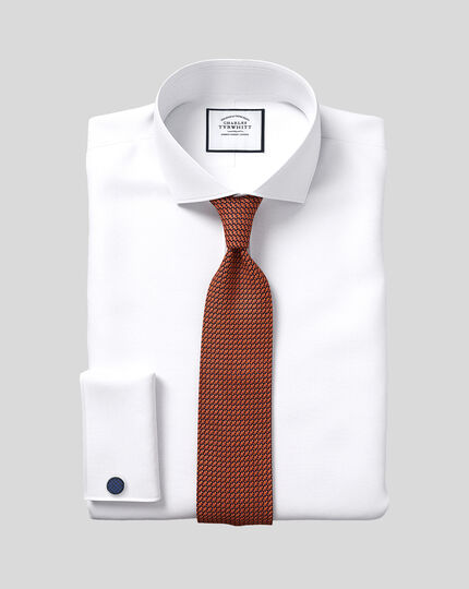Popeline-Hemd ägyptischer Baumwolle mit Haifischkragen - Weiß