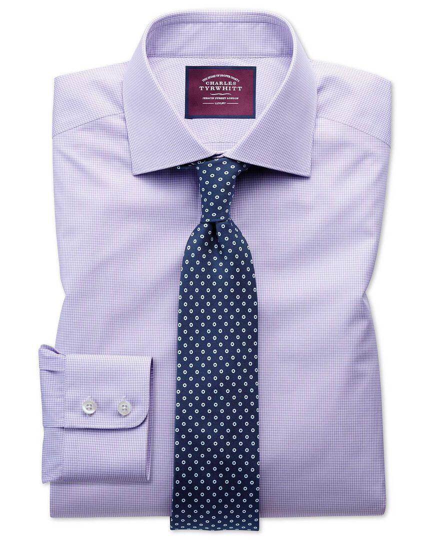 Slim fit semi-cutaway luxury poplin lilac and white shirt