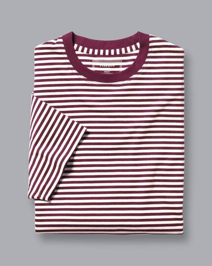 Cotton Stripe Tyrwhitt T-Shirt - Wine & Ecru