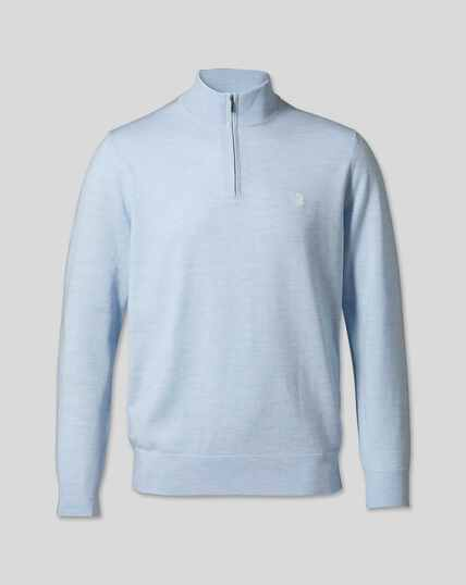 England Rugby Merino Zip Neck Sweater - Sky