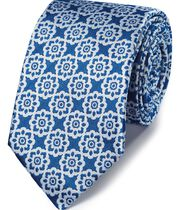 Klassische Krawatte mit Blumenmuster in kräftigem Blau