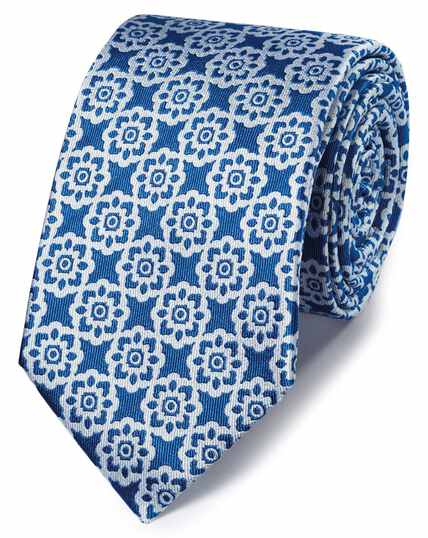 Bright blue floral classic tie