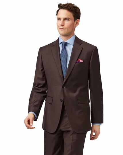 Brown classic fit twill business suit jacket