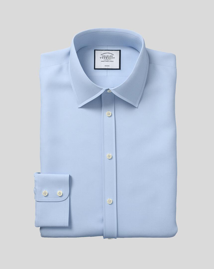 Bügelfreies Twill Hemd mit Kent-Kragen - Himmelblau