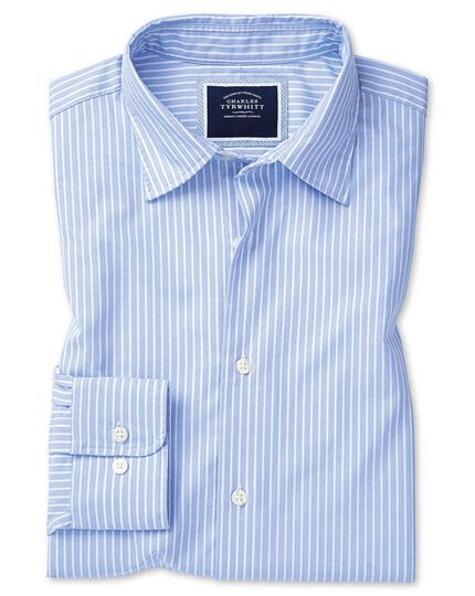 Slim fit sky blue and white stripe soft washed textured shirt