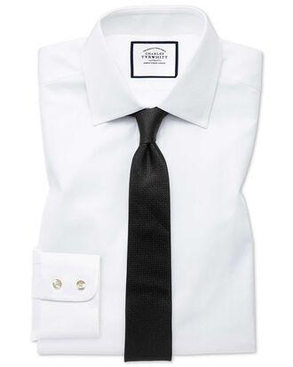 Extra slim fit fine herringbone white shirt