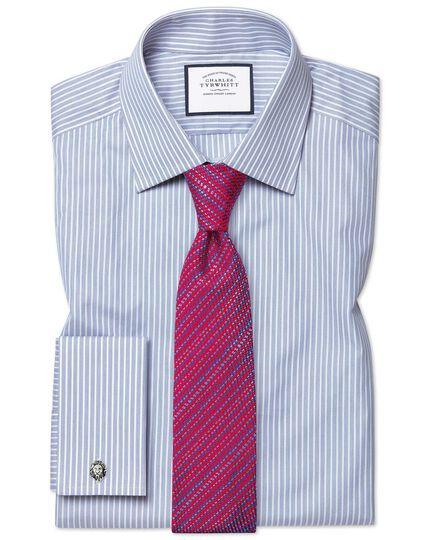 Slim fit poplin fine stripe blue shirt