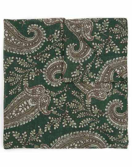 Green floral paisley luxury Italian pocket square
