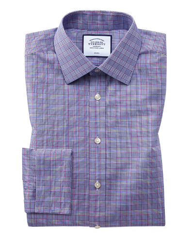 Extra slim fit non-iron berry and navy Prince of Wales check shirt